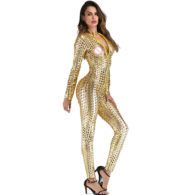 Gothic Punk Rock Scaly One Piece Jumpsuit Women Metallic Hollow Out Catsuits Sexy Wet Look Vinyl Leather Bodysuit Black Gold (5)