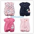 2016 carros de bebé ropa de niña de verano de una pieza-buzos bebé clothing algodón mameluco corto de la manga vestidos meninas roupas de bebe