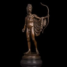 ATLIE Large Classical Greek Mythology ARCHER Phoebus Apollo Bronze Sculpture Collectible Statues Antique Figurines Home Decor