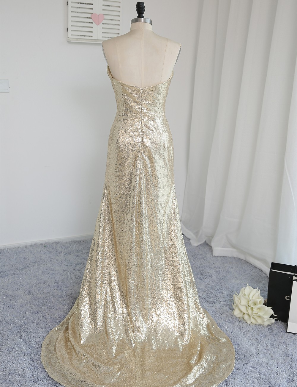 Sweetheart Champagne Sequins Slit Backless Mermaid Wedding Party Bridesmaid Dress