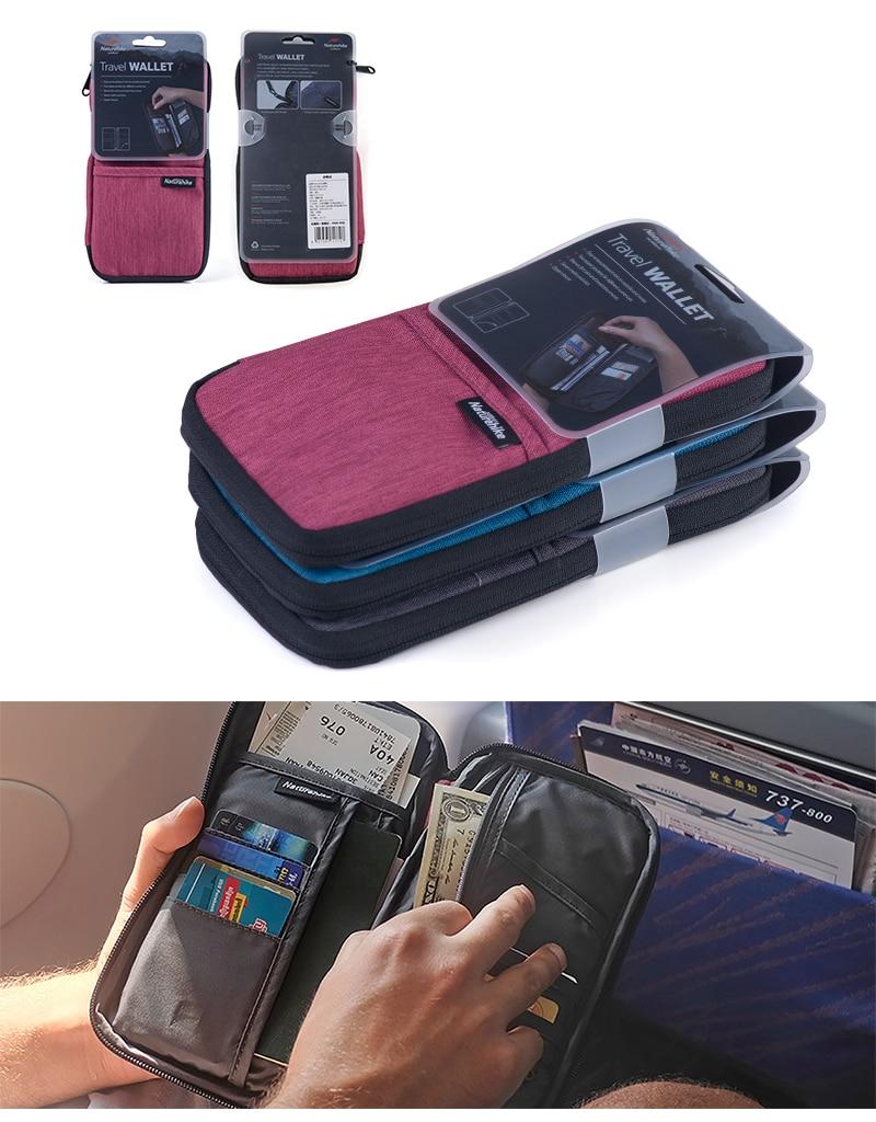 Naturehike carteira de viagem 3 cores, portátil,