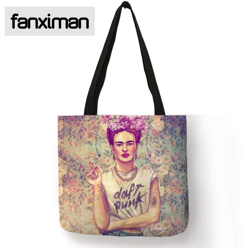 Exklusive Frida Kahlo Druck-einkaufstasche Frauen Handtasche Schulter Klapp Reise Strand Aufbewahrungsbeutel Wiederverwendbare Einkaufs Totes