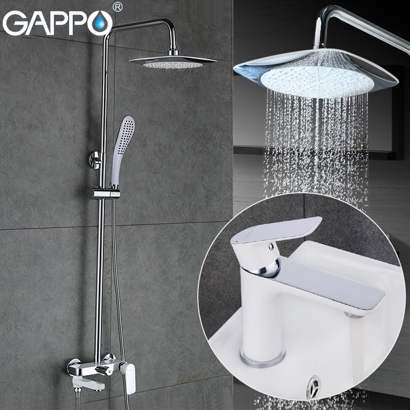 GAPPO white shower faucet shower mixer bathroom basin sink faucet bath tub faucet waterfall bath faucets