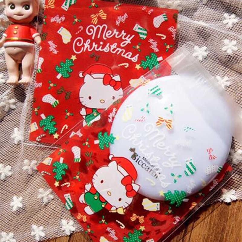 Hello Kitty Christmas.Lbsisi Life 100pcs Red Hello Kitty Christmas Cookie Bags Self Adhesive Bag Food Plastic Opp Diy Jewelry Gift Poly Bag 10x11 3cm