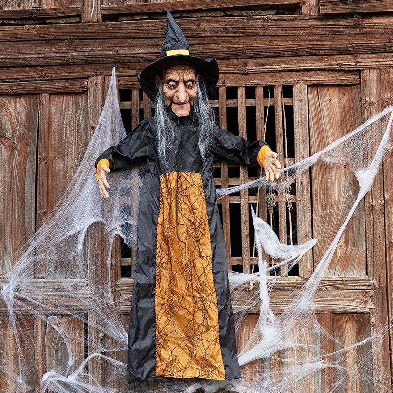 Halloween terreur accessoires commande vocale sorcière pendaison mort-fantôme Bar KTV fête scène décoration Halloween décorations accessoires artisanat