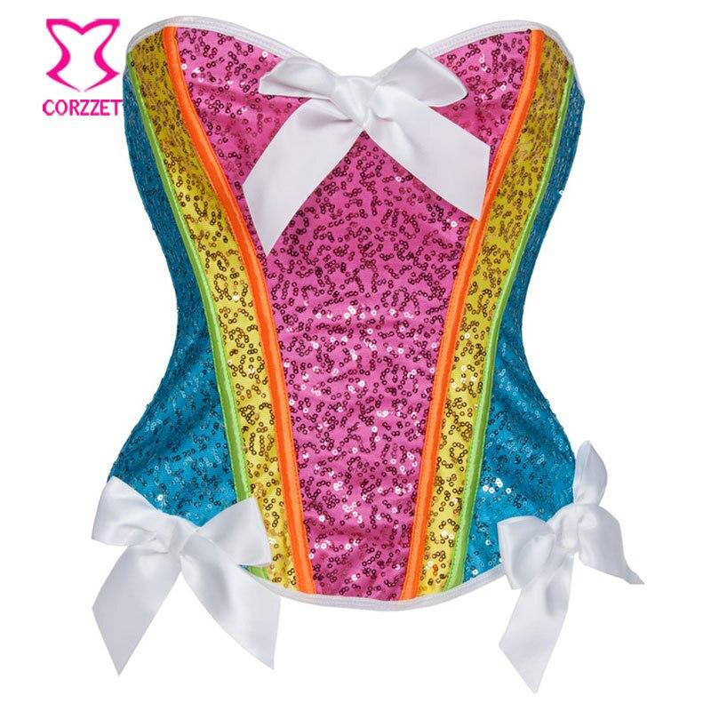 Rainbow Sequin   Corset   Top   Bustier   Sexy Corselet Overbust Corpetes E Espartilhos Gothic Clothing Burlesque Costumes Korsett