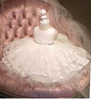 新しい甘いふわふわレースフラワーガールドレス女の子ホワイトチュチュパーティーページェントドレス子供ウエディング結婚式誕生日クリスマスドレ