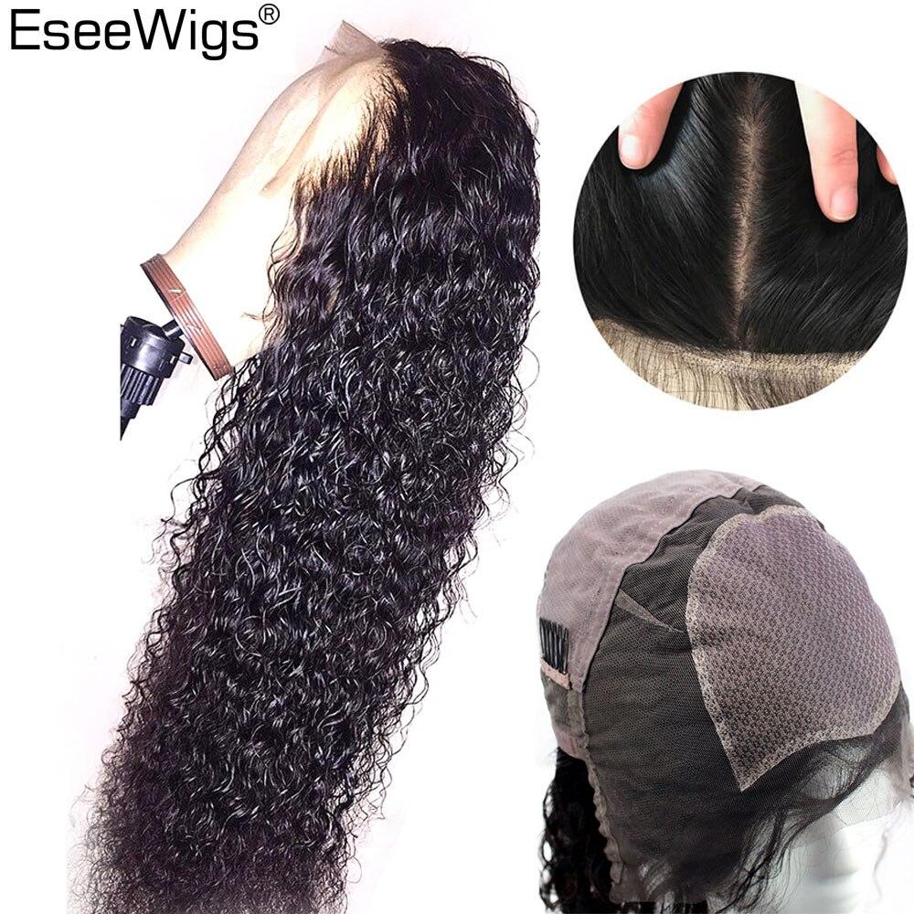 Eseeperruques Base en soie pleine dentelle perruques cheveux humains brésilien Remy perruques sans colle pour les femmes noires profonde bouclés pleine perruque de qualité supérieure en soie faite à la main