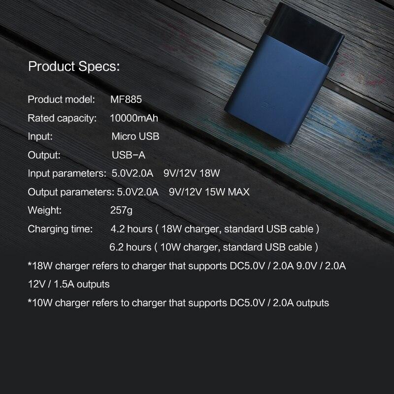 Original nouveau Xiaomi ZMI M885 10000 mAh mifi 3G 4G routeur répéteur Wifi sans fil avec batterie externe Mobile 5 V/10000 mAh QC2.0 - 2