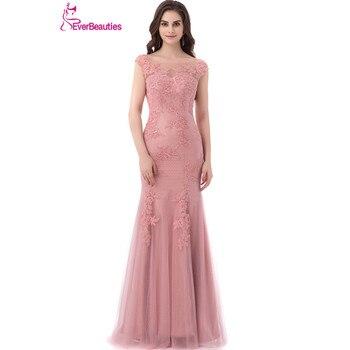 e5a01494026d Sirena De encaje De color rosa vestidos De noche largo 2019 Sexy sin espalda  longitud piso tul Abendkleider vestido De fiesta vestido