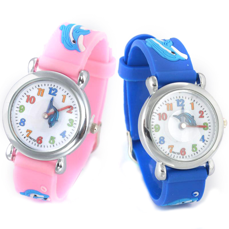 Watches Silicone Childrens Watch Anime Dolphin Children Quartz Wristwatches Cartoon Rubber Student Boy Girl Kids Life Waterproof Watch And To Have A Long Life.