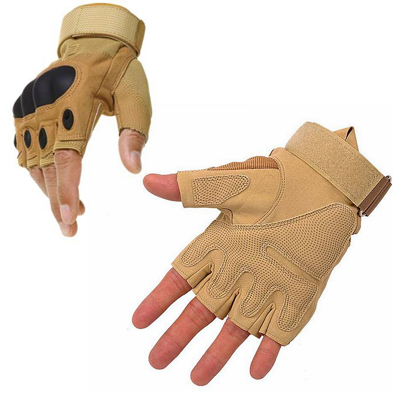 Outdoor Tactical Gloves Half Finger Sports Hiking Hunting Cycling Military Men's Gloves Armor Shooting Protection Shell Gloves