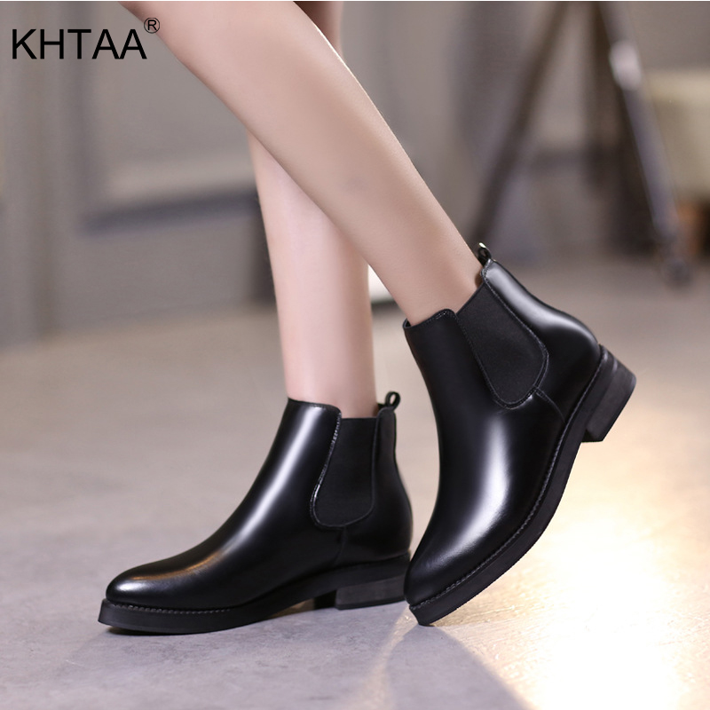 Plus Size Platform Autumn Ankle Women Boots Pointed Toe Slip-On Medium Heels Black Shoes Winter Woman Solid Boot For Ladies mcckle 2017 ladies fashion sexy autumn winter ankle boots female slip on zip black solid platform high heels plus size34 43