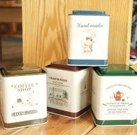 1PCS LOT Vintage Mood Life DIY Multifunction Stationery Holder Tea Tin Box Metal Storage Box Clean