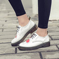 Spring New Heart Shaped Women Brogues Flat Leather Shoes Casual Platform Oxford Shoes For Women