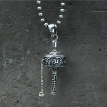 Mens Necklaces 925 Sterling Silver Prayer Wheel Necklace Pendant Freely Rotate Smoothly Exquisite Carved Mantra