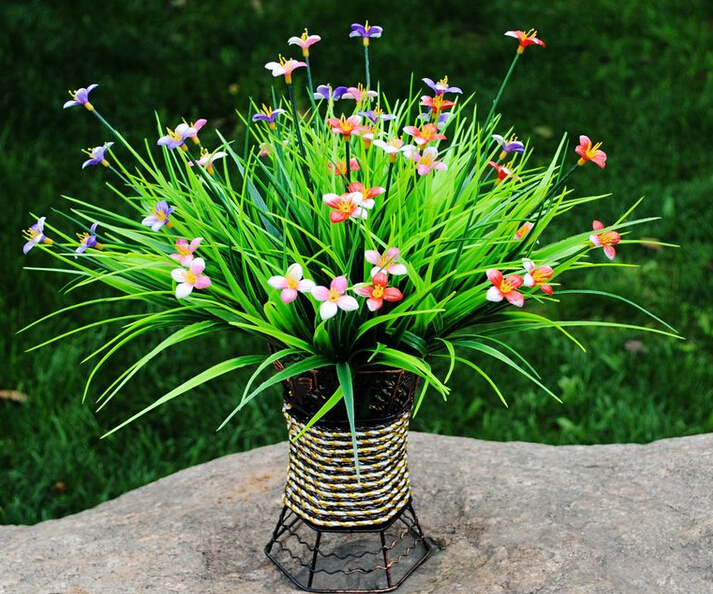 House Decoration Ornament 30cm Beautiful Artificial Plastic Plant Free Shipping Home Hotel Green Grass Decorations 10pcs