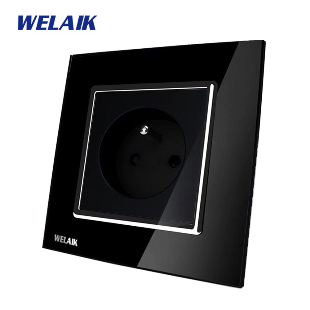 все цены на WELAIK EU Wall Socket Wall Power Socket New Outlet French Standard Black Crystal Glass Panel AC 110~250V 16A A18FB