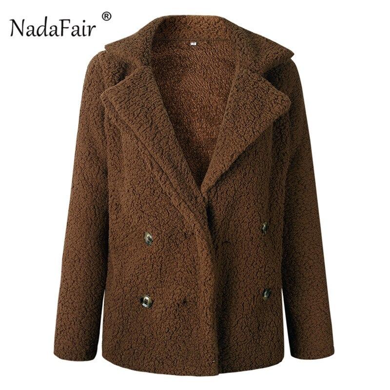 Nadafair plus size fleece faux fur jacket coat women winter pockets thicken teddy coat female plush overcoat casual outerwear 28