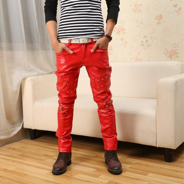 #2213 2017 Night Club Casual Slim Hip hop pants Men leather pants Fashion Punk Red PU pants Pantalon homme Joggers With Zippers