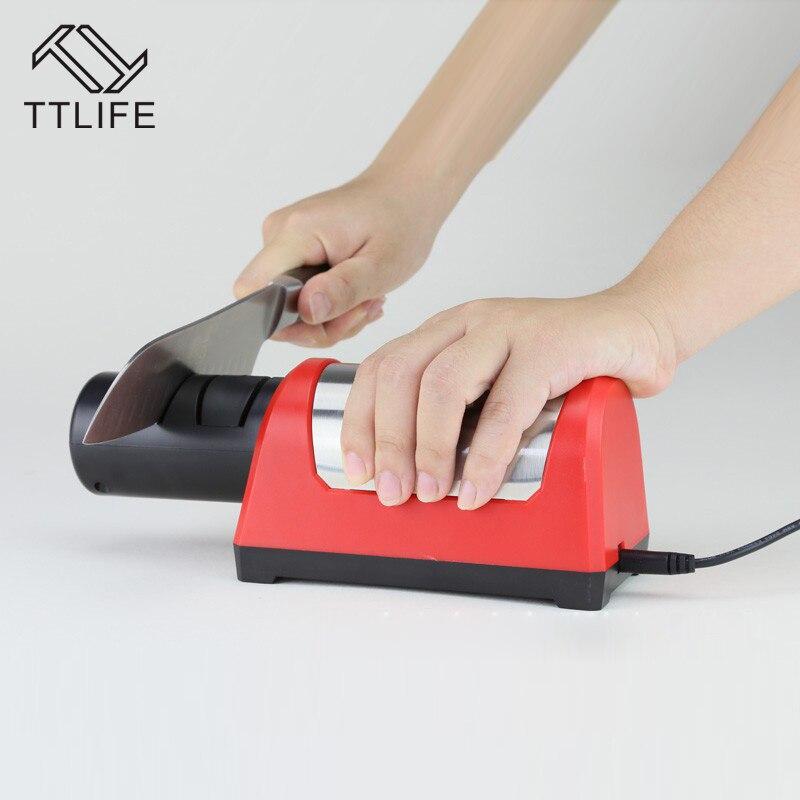 TTLIFE Professional Electric Diamond Ceramic Kitchen Knife Sharpener 2 Stage Grinder Sharpening Ceramic Knife EU Plug