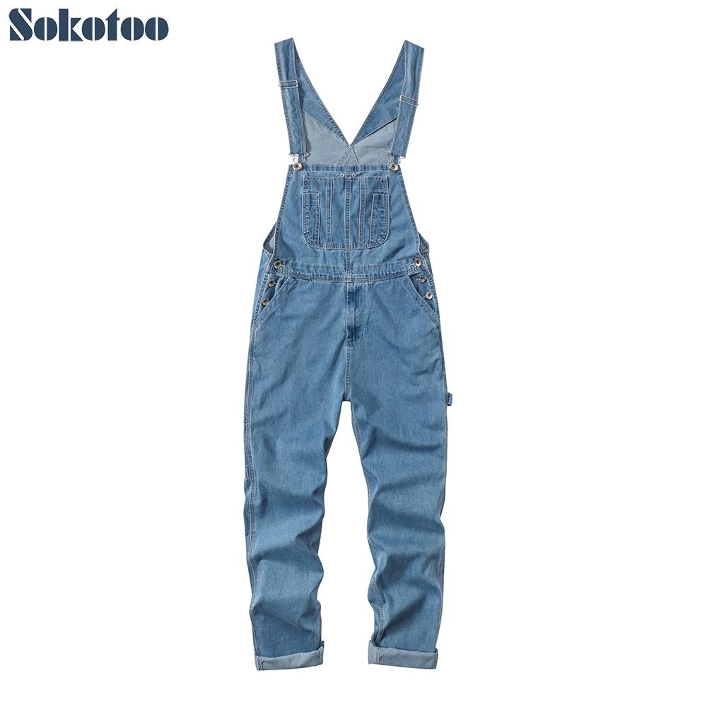 Dapper Sokotoo Mannen Plus Size Grote Zak Losse Bib Overalls Casual Werken Overall Bretels Jumpsuits Licht Donkerblauwe Jeans Glanzend