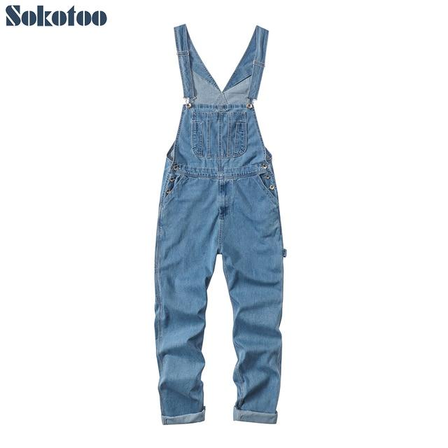 Sokotoo masculino plus size grande bolso solto bib macacão de trabalho casual suspensórios macacões jeans azul escuro claro