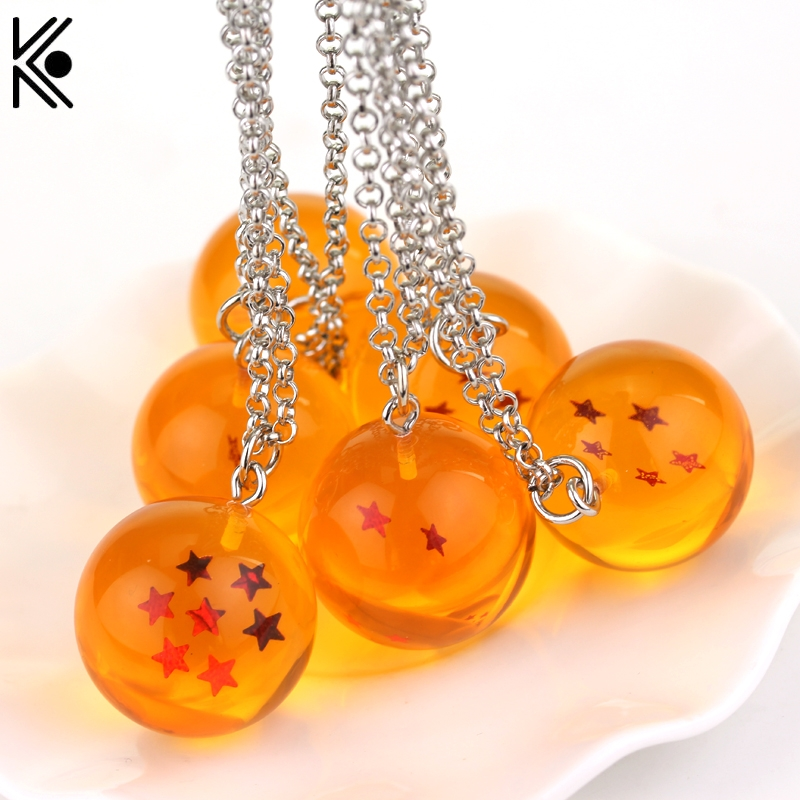 anime Dragon Ball Z necklace pvc 1-7 stars Goku Dragonball Necklace pendant statement crystal ball necklace llavero chaveiro