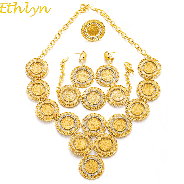 Ethlyn Turkey Coin Necklaceearringringbracelet Jewelry Sets For