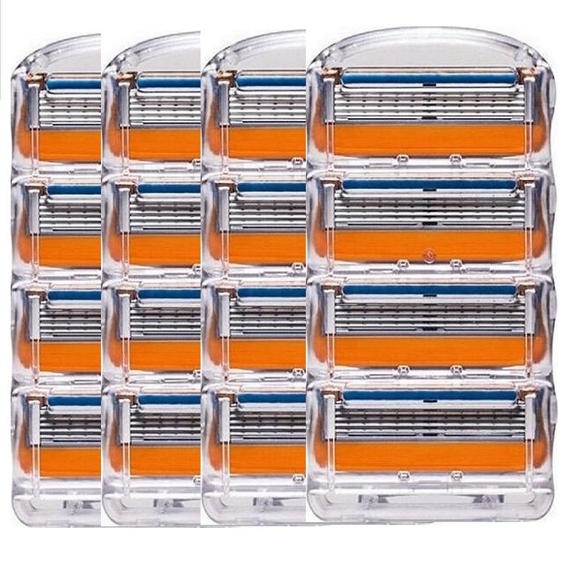 ¡16 unids/pack! Cuchillas de afeitar de alta calidad casetes de afeitar cuidado Facial para hombre cuchillas de afeitar compatibles con Gillettee Fusione
