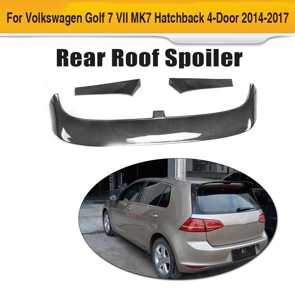 Carbon Fiber Rear Roof Spoiler Window Wing for Volkswagen VW Golf 7 VII MK7 Standard Hatchback 4 Door 2014 - 2017 3PC car styling carbon fiber frp car rear roof spoiler lip for volkswagen vw golf 7 vii mk7 hatchback 4 door standard 2014 2017