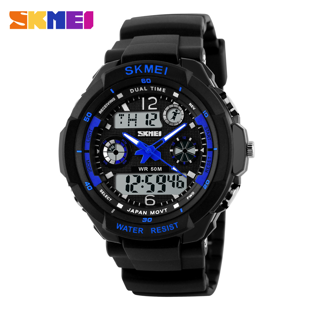 SKMEI Men Sports Watches Digital Watch 2 Time Zone Quartz Chronograph Dive relogio masculino LED Outdoor Dress Wristwatches 2017 new men digital sports military watch electronic dual time zone waterproof army watch relogio masculino relogio militar