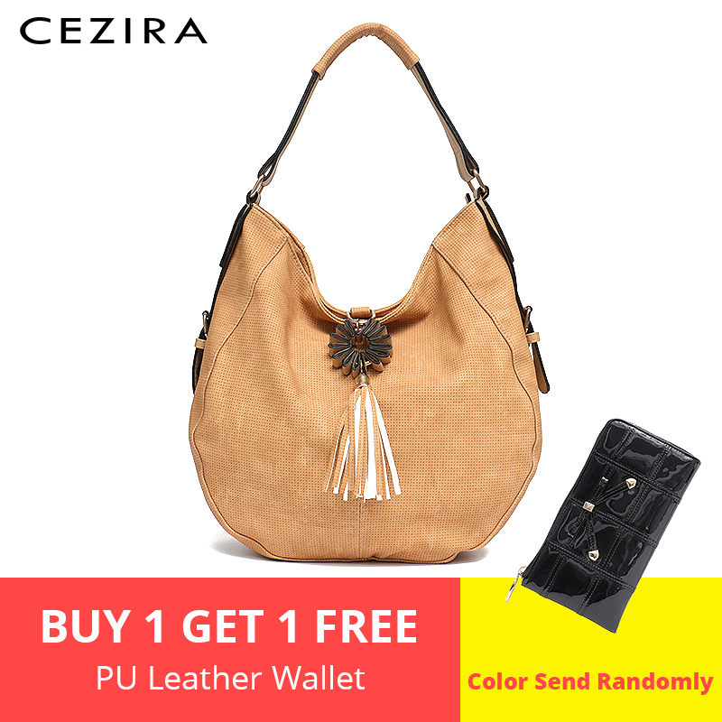 CEZIRA Big Womens Shoudler Bag Single Handle Large Handbag for Ladies Tassel String Hobo Female Round Hobo Tote Crossbody Bags