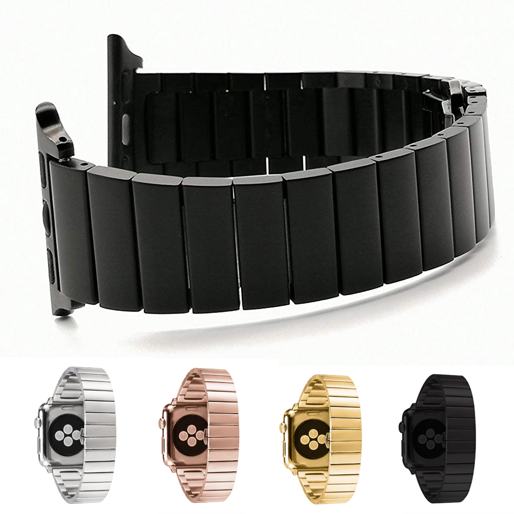 Luxury Butterfly Clasp Stainless Steel <font><b>Watch</b></font> Band for <font><b>Apple</b></font> <font><b>Watch</b></font> 4 <font><b>3</b></font> 2 1 38mm <font><b>42mm</b></font> Link Bracelet Strap Fashion Bands For iwatch image