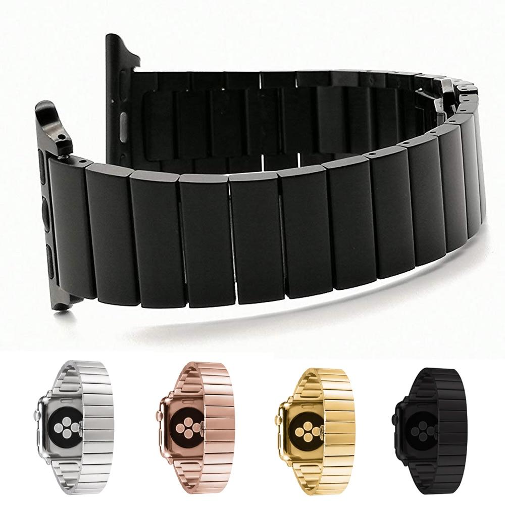 Luxus Schmetterling Schließe Edelstahl Uhr Band für Apple Uhr 4 3 2 1 38mm 42mm Link Armband strap Mode Bands Für iwatch