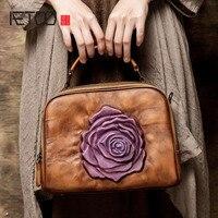 AETOO Ethnic Style Women Leather Handbags Large Flowers Fight Color Handmade Baotou Cowhide Shoulder Messenger Bag