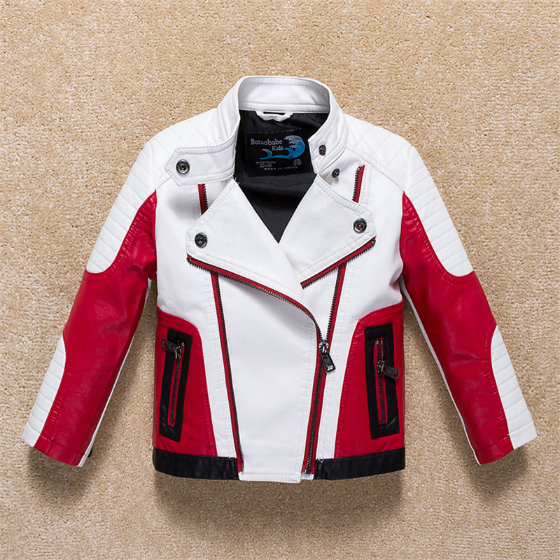 Infant Boy Coat 2017 Autumn Fashion Hit Color Stitching Children Leather Jacket Kids Warm Outerwear For Baby Girls Boys Clothes