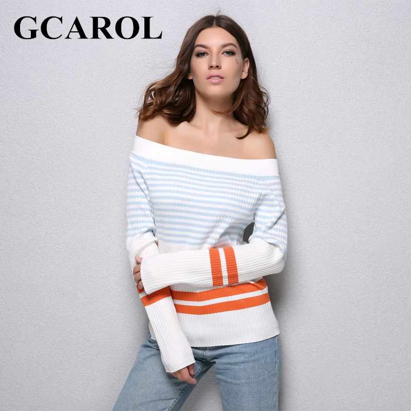 GCAROL New Arrival Slash Neck Women Sexy Sweater Striped Color Sweater Stretch Knitting Tops Warm Knitted Tops