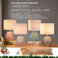 Dépoli Diamant Corps En Verre Lampe de Table Tissu Abat-Jour LED Lamparas de mesa Lampe De bureau En Verre E27 Éclairage Déco Luminaria de mesa
