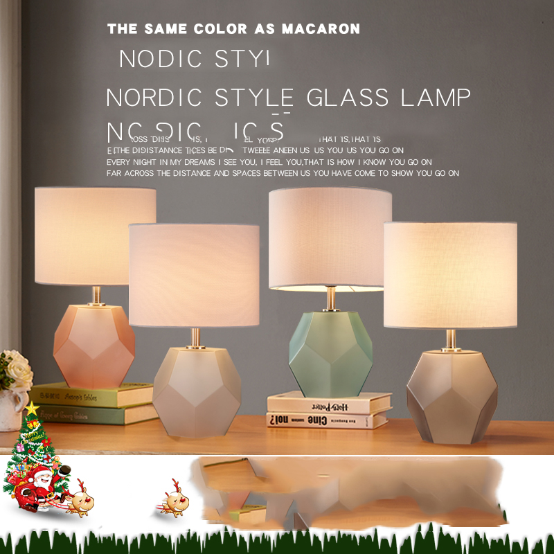 Frosted Diamond Glass Body Table Lamp Fabric Lampshade LED Lamparas de mesa Glass Desk Light E27 Lighting Deco Luminaria de mesa one light frosted glass antique rust hanging lantern