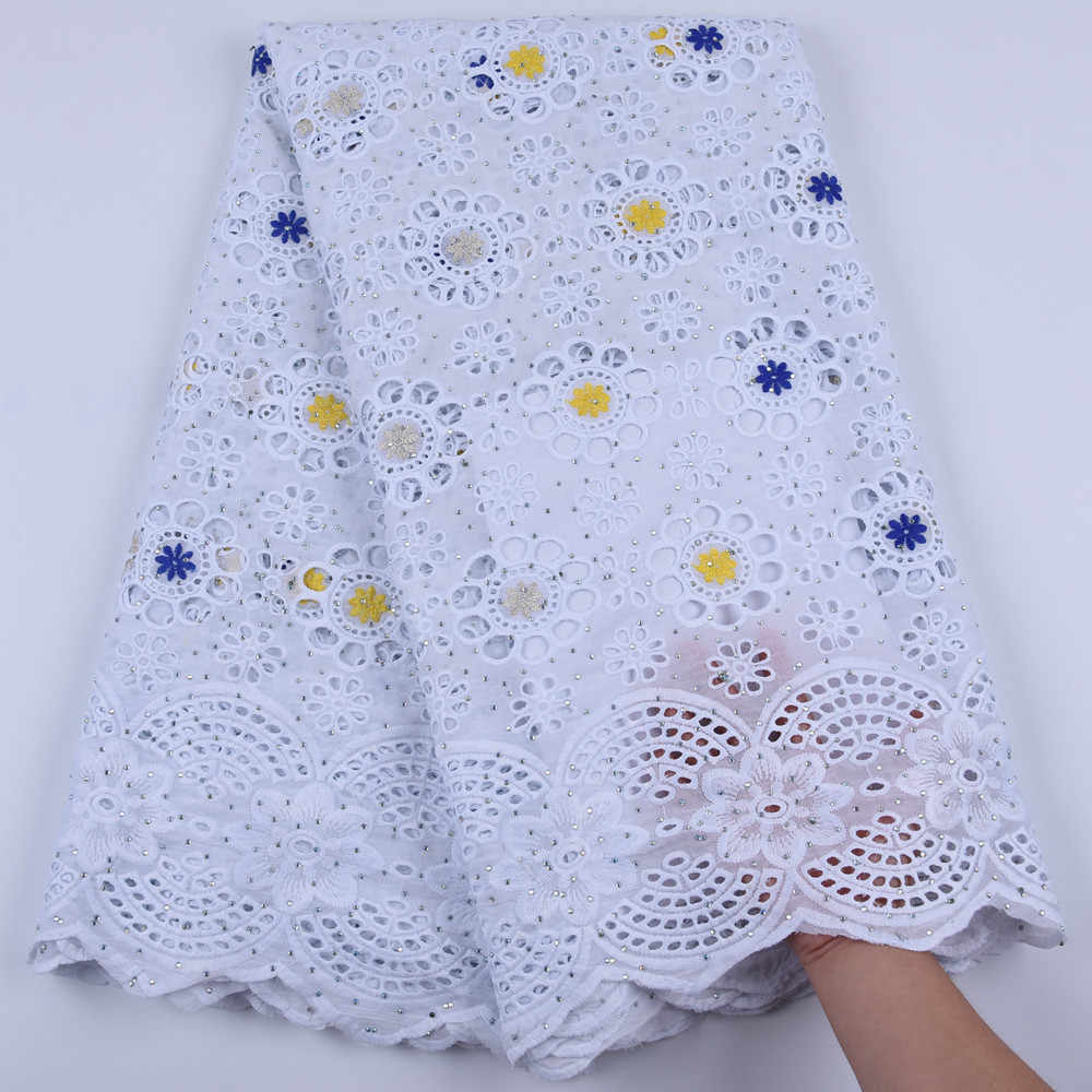 Blue Yellow African 100% Cotton Lace Fabric Latest Swiss Voile Lace In Switzerland With Stones For Men Women Dress Party F1679