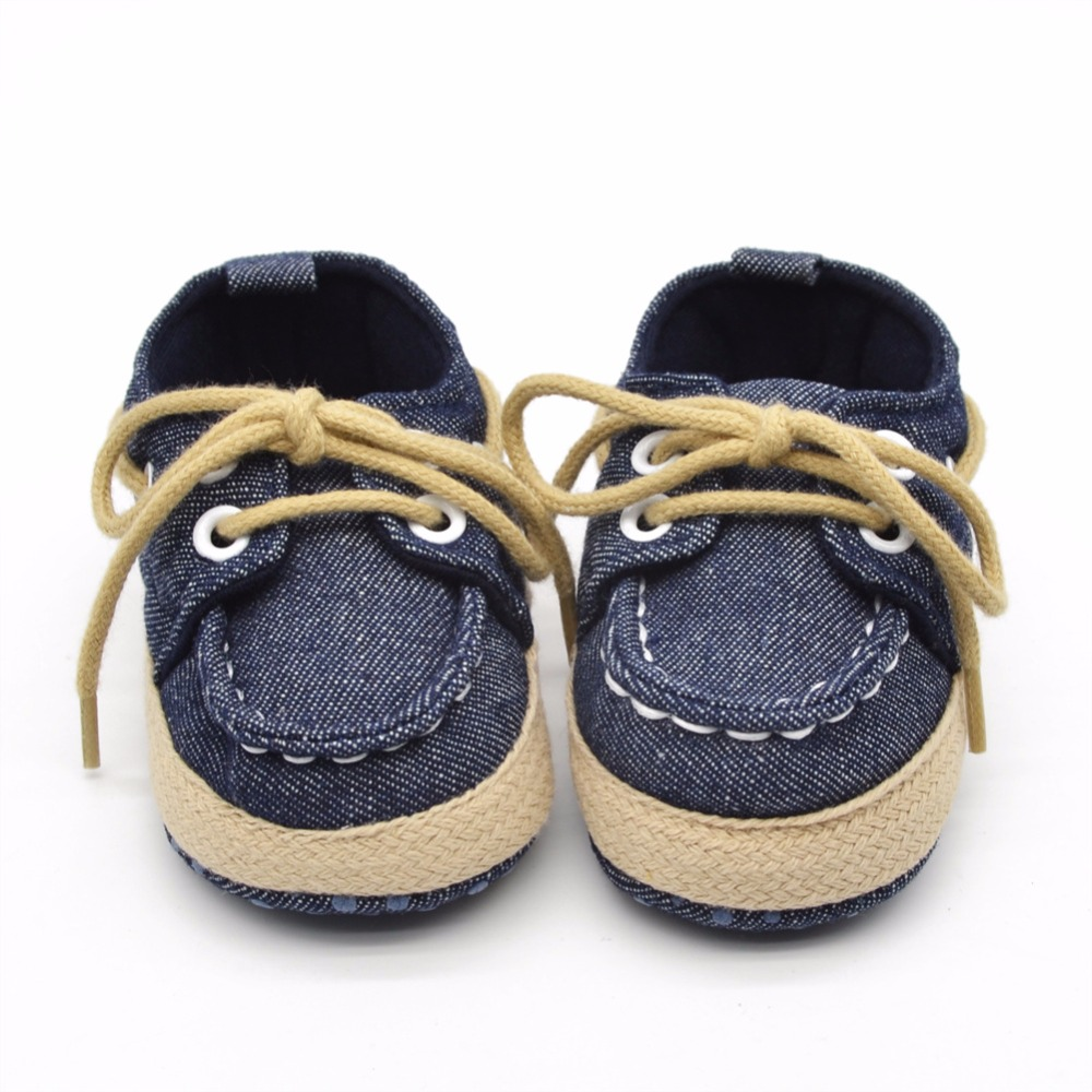 Spring/ Summer Cotton Fabric Lace-up Shallow Soft Sole Prewalkers Baby Girl & Boy Shoes For 0-18 Month Wholesale