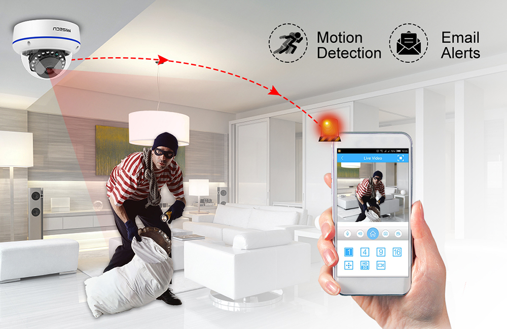 MISECU Super HD 5MP 2MP H 265 Surveillance IP POE Camera 1080P Audio Microphone Dome Indoor