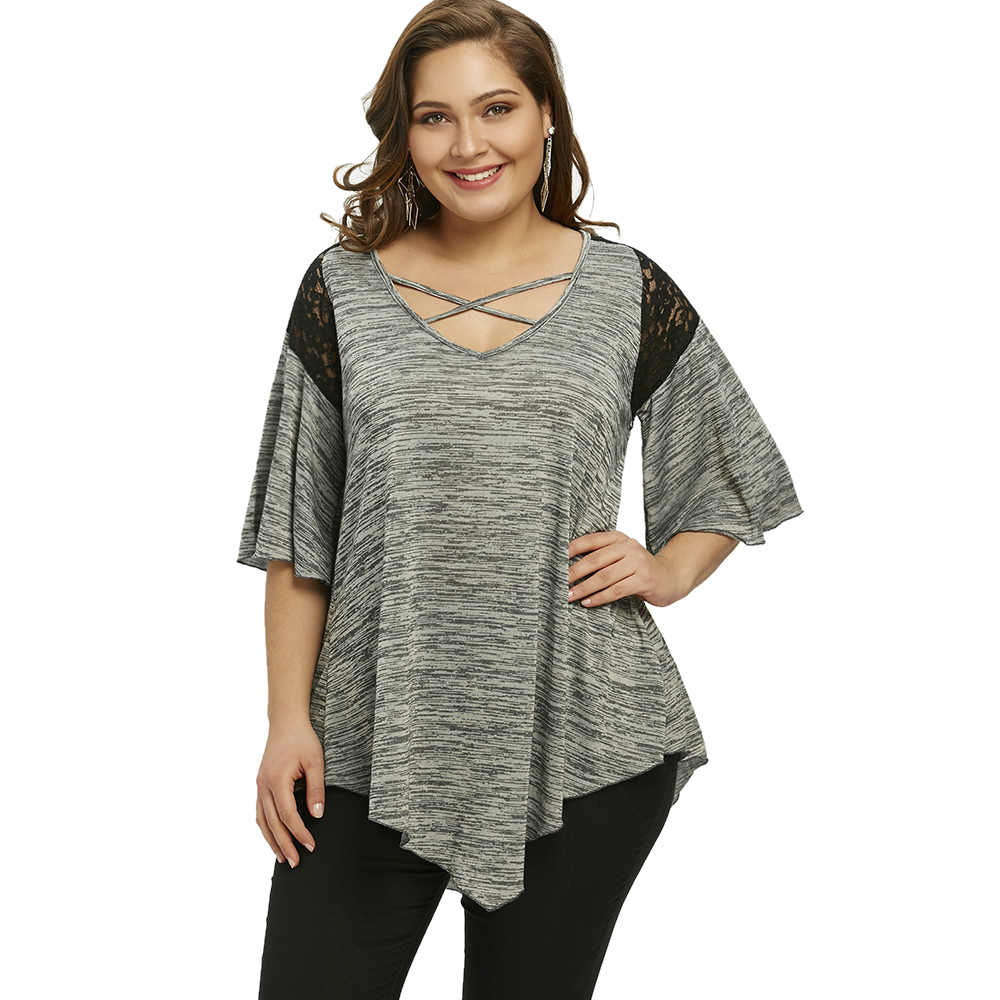 4903b67f9f6c1 Gamiss Women Casual V-Neck Half Sleeve Lace Panel Tops 2018 Asymmetrical Plus  Size Flare