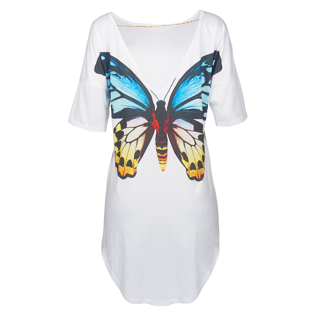 Casual Good Quality Women Summer Irregular Loose Short Sleeve Tops Tee Shirts Animals Butterfly Printed T-shirts