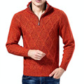 Mens Cable Solid Knit Sweater Quarter Zip Pullover Ken Bone American Presidential Debate Red Sweater for Dad Undecided Voter