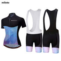 Elegant Woman Cycling Clothing 2017 Sportswear Bicycle Bike Jerseys MTB Protective Bibs Set GEL Pad S