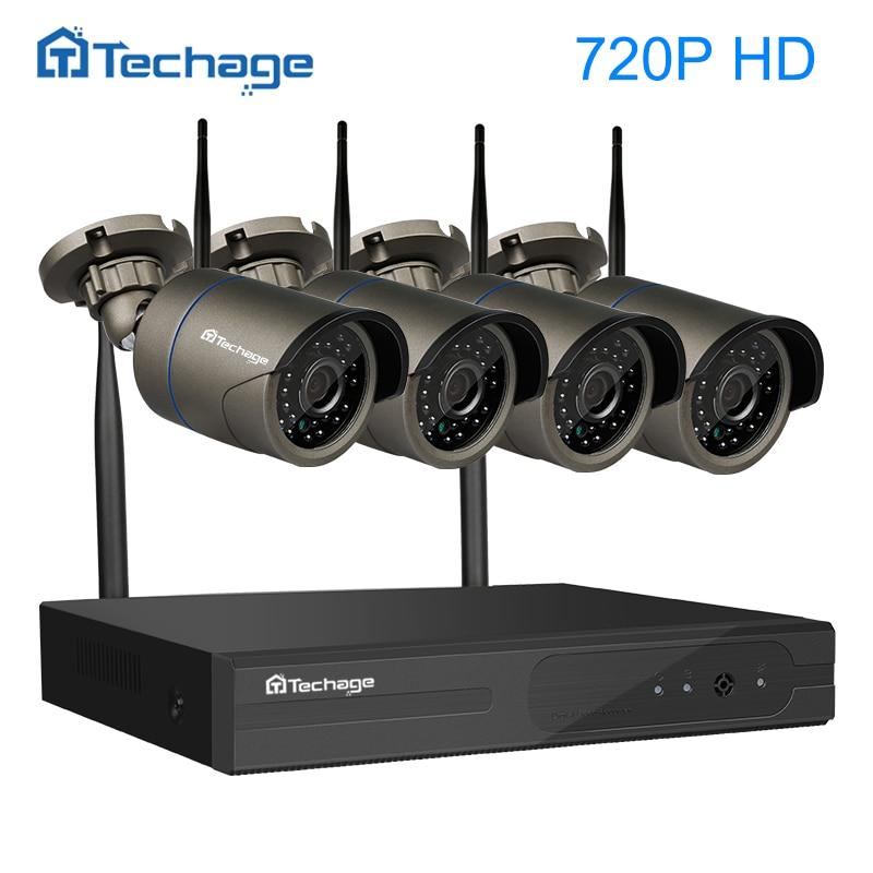 Techage 4CH Wireless 1080P NVR HD Plug and Play CCTV System Outdoor 720P 1.0MP IP WIFI Camera IR Night Vision Surveillance Set nvr 4ch kits 960p night vision plug and play ip camera p2p cloud 4ch 1u nvr onvif ip camera set