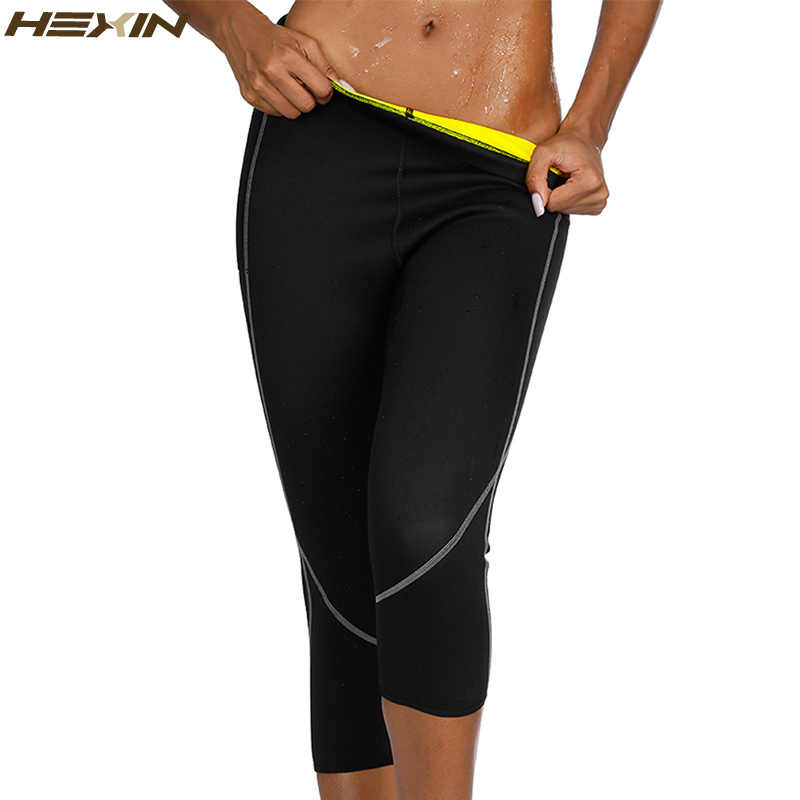 b63e2b312 HEXIN Neoprene Body Shaper Sauna Sweat Shapewear Breathable Control Tummy  Leggings Women Slimming Pocket Capri Pants