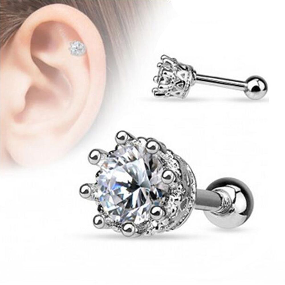 Surgical Steel Prong Set Round Crystal Zircon Ear Stud Helix Tragus Cartilage  Earring Piercing Jewelry(